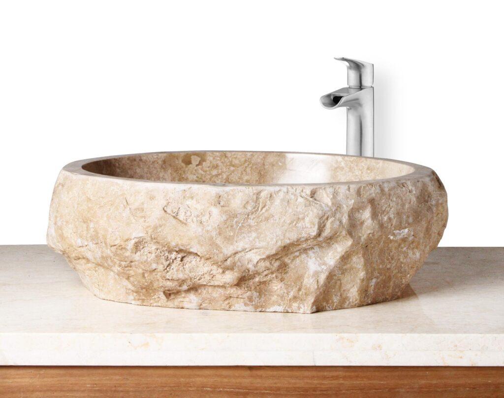 round stone sink